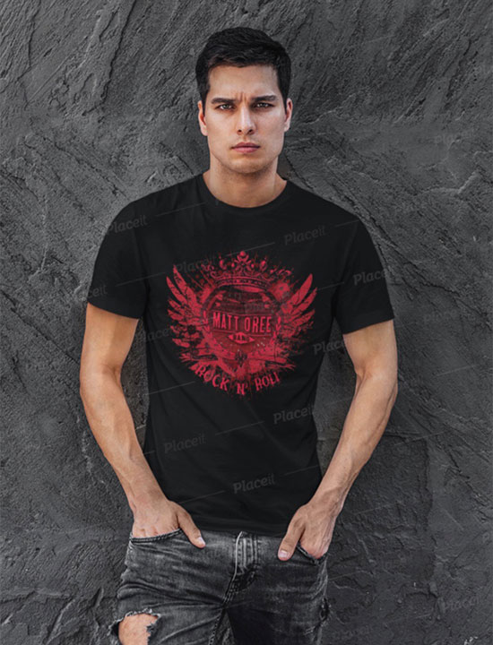Matt O'Ree Band Red Abstract Logo Black T-Shirt